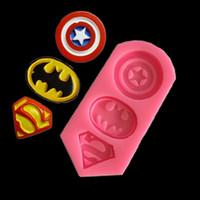 moldes 3d para pasteles al por mayor-3D Capitán América Shield, Batman, Superman Silicona Forma del molde de la galleta Moldes pasta de azúcar DIY hornada de la cocina Herramientas