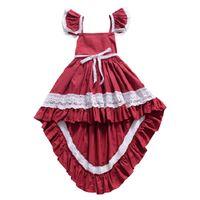 Wholesale red irregular skirt for sale - Group buy Baby Girl Irregular Dress Solid Color Square Collar Flying Sleeve Dress Lace Back Tuxedo Dress Designer Skirt