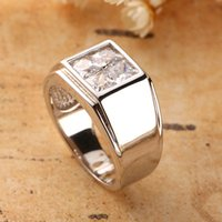 Wholesale princess cut three stone ring for sale - Group buy Father s day ring Sterling Silver men rings princess cut square CZ zircon stone fine male jewelry for dad husband or boy