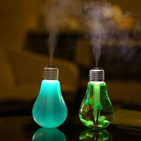 Wholesale essential oil lamp diffuser for sale - Group buy 400ML colors USB Ultrasonic Air Humidifier Colorful Night Light Essential Oil Aroma Diffuser Lamp Bulb Shape with Inner Landscape RRA2825