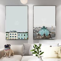 Wholesale building modern art painting for sale - Group buy Modern Home Decoration Posters Canvas Art Landscape Bus Car And Building Painting Nordic Style Wall Art Picture For Living Room