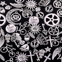 Wholesale making crosses craft resale online - 100pcs Mixed Charms Pendants Cross tree of Life keys hearts crescent sun crown leaves DIY for Jewelry Making and Crafting H3002