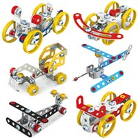 Wholesale toys construction set resale online - 3D Assembly Metal Engineering Vehicles Model Kits Toy Car Carrier Rocking Chair Bicycle Puzzles Construction Play set Novelty Items GGA1417
