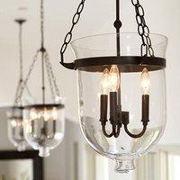 eimerlampen großhandel-Weinlese-Anhänger-Lampen Retro American Country Loft Eisen Pendelleuchte Glas Bucket Bar Lager E14 Fixture Lighting