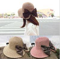 ingrosso cappelli a farfalla-Lady Sun Hat Lady Beach Cappello parasole Cappello annodato a coste in costa a farfalla Lady Travel in Britain Sunscreen Hat