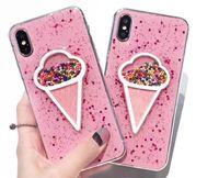 iphone cloud toptan satış-Sıvı Kalp Glitter Toz Gülümseme Yüz Bulutlar EN IYI IPhone Kılıfları iPhone 6 7 8 Dondurma Yumuşak TPU Dinamik Boncuk Arka Kapak
