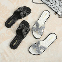 Wholesale bling pu slipper resale online - Outsize Fashion Women Beach Shoes Bling Low Square Heel Summer Women Slippers Rivet Ladies Slides