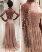 Wholesale black blue pearls for sale - Group buy 2020 A Line Prom Dresses Formal Evening Dress Pearls Party Wear Backless Sexy Plus Size Maxi Gown