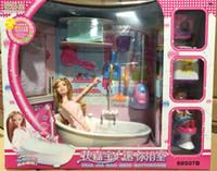 ingrosso set di giocattoli barbie-Grils 2 pezzi / set Barbie Doll Abbigliamento Casual Maglione + Bambini Mini Bubble Giocattoli da bagno + Set da bagno completo + Bambola Barbie da 10 cm