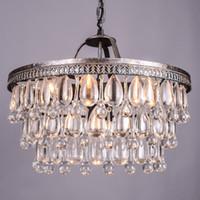 Wholesale hanging vintage chandelier light online - Vintage Big Glass Drops Led Crystal Iron Lustres Chandeliers Pendants Modern E14 Hanging Lamp For Kitchen Living Room Bedroom