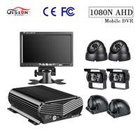 güvenlik hdd toptan satış-GISSON 7 inç VGA Araba Monitör Araç Güvenlik Gözetleme Sistemi Kamyon Okul Otobüsü MDVR Kiti, 8CH 1080N HDD MDVR ve 6 AHD Kamera