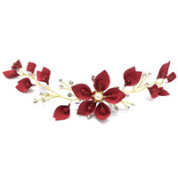 Wholesale beaded hair tiaras for sale - Group buy Red Flower Handmade Hair Pins Jewelry Pearl Beaded Bridal Hairpins Tiaras Headpiece Women Wedding Hair Accessories