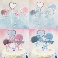 ingrosso decorazioni di nozze di elefante-4 Pz / set Baby Boy Baby Shower Elefante per ragazze Toppers torta di buon compleanno decorazione della festa nuziale forniture decorazione della torta