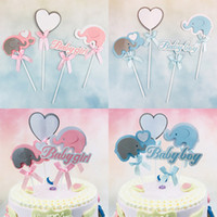 Wholesale baby shower cake decorations boy resale online - 4PCs Set Baby Boy Baby Shower Elephant For Girls Happy Birthday Cake Toppers Wedding Party Decoration Supplies Cake Decoration