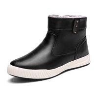 bottes de cheville noire imperméable à chaud achat en gros de-Bottines grande taille pour hommes en cuir bout rond bottes d'hiver imperméables pour hommes avec peluche garder au chaud Zip Black Man Flat Boots