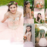 Wholesale 12 years skirt for sale - Group buy 2019 Princess Pink Quinceanera Dresses With Beaded Crystal Puffy Skirt Ball Gowns Sweet Gowns Corset Sweetheart Formal Dress for years
