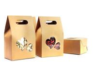 ingrosso scatole di finestra del cuore-10 * 15.5 * 6cm Bottom Heart Shape Clear Window Doypack Pouch Food caffè Stand Up Borse Kraft Paper Pack Con maniglia