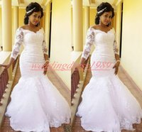 Wholesale white lace nigerian dress resale online - Stunning Lace Plus Size Mermaid Wedding Dresses with Long Sleeve Nigerian Sequins Bride African Robe de mariée Bridal marriage Gowns