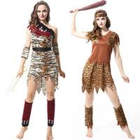ingrosso uomini di abbigliamento di leopardo-Costume da cosplay per feste in maschera Tema di Halloween 12 Stile originale selvaggio Selvaggio Indiano Leopard Abbigliamento Suit Adulto Uomo Donna Set da festa 06