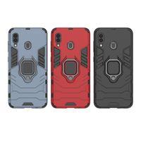 броня двухслойная обложка оптовых-Держатель кольца Kickstand Cover Case Броня Прочный Двухслойный Для Samsung Galaxy S10 S10E S10 PLUS A30 A50 A40 A60 M10 M20 M30 A8S 50 шт.