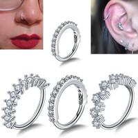 хрустальные хрящевые украшения оптовых-1PC Round Zircon Bendable Gem Ring Bendable Seamless Nose Ring Steel Crystal Ear Tragus Helix Cartilage Earring Piercing Jewelry