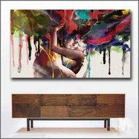 lienzo de pared de sala de estar al por mayor-Wlong amor beso pintura al óleo de las pinturas del arte de la lona para la sala pared No Frame Imágenes pintura decorativa del arte abstracto