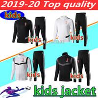 ingrosso i vestiti dei capretti di qualità-19 20 Juventus tuta da allenamento giacca da calcio per bambini 2019 2020 RONALDO DYBALA kit giacche bambino tuta da calcio con cerniera giacca da calcio felpa