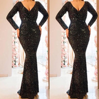 Wholesale special occasion dresses for girls online - Black New Sequined Evening Dresses for Black Girls Long Sleeves Beads special occasion dresses evening wear gowns