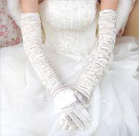 longas luvas de renda vermelha venda por atacado-Luvas de casamento nupcial além de longo seção cotovelo branco branco preto laço vermelho tudo se refere a luvas de casamento inverno quente