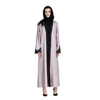 абая мусульманский арабский оптовых-Fashion Islamic Women Lace Dress Cardigan Muslim Abaya Dubai Dresses With Belt Long Middle East Arabic Turkish Kaftan