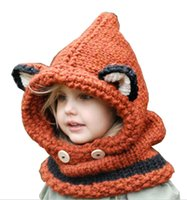 ingrosso maglia crochet bella-Bello di Fox dell'orecchio protezioni di inverno antivento Cappelli per bambini bambini crochet dimensionato copricapo bambini courful cappelli lavorati a maglia Fashio Trendy Beanie di inverno sopra