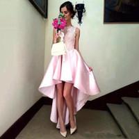 hermosos vestidos de fiesta altos y bajos al por mayor-Pink High Low Prom vestidos de graduación Vestidos de encaje Sin mangas Vestidos de noche de cóctel Volver Cremallera Vestidos de Fiesta Elegante Hermosa