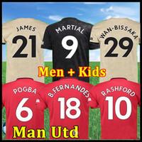 kit de pogba al por mayor-FC Manchester FERNANDES Pogba BRUNO camiseta de fútbol 2019 2020 LINGARD Rashford camiseta de fútbol unido UTD 19 20 uniformes hombre + kids kit jerseys