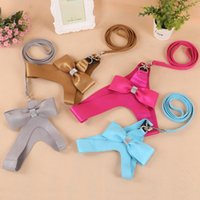 Wholesale harness vest for dogs for sale - Group buy 2016 New Design Soft Korea Suede Leather Dog Harness Vest Bling Rhinestone Bowtie Pet Harness and Leash for Chihuahua Yorkie
