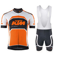 Wholesale team cycling clothing sale resale online - KTM team Top brand Cycling Short Sleeves jersey bib shorts sets Hot Sale mens breathable quick drying mountain Bike Clothes Q71108
