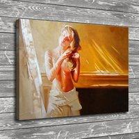 filles nues impression hd achat en gros de-Fille nue se peignant les cheveux, décor à la maison HD imprimée art moderne peinture sur toile (sans cadre / encadrée)