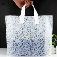 Wholesale white lace gift bags resale online - 100pcs White Lace Plastic Bags With Handles Gift Jewellery Pouches Wedding Pocket Shopping Packaging Bag