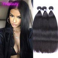 saç örgüsü üst parça toptan satış-Malezya İnsan Saç Uzun Inç 2 Paketler Düz Saç Örgüleri 2 Adet / grup 95-100 g / adet Toptan Düz Iki Adet