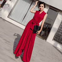 Wholesale black formal jumpsuits for sale - Group buy V Neck Women Jumpsuits Office Elegant Ladies Black Party Wide Leg Jumpsuits Casual Lady Playsuits Drop Shipping