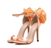 zapatos de boda rosa naranja al por mayor-Diseñador de lujo bombas sexy flor naranja rosa tobillo correa zapatos de boda de dama de honor tamaño 35 a 40