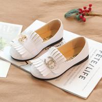 chaussures de glisse de la marque coréenne achat en gros de-Marque 2020 X Spring New Girl chaussures en cuir version coréenne princesse Élève du primaire Simple automne Fond souple Non-slip