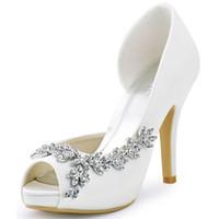 fildişi gözetleme ayak önü topuklu toptan satış-Kadın Ayakkabı Düğün Gelin Platformu Yüksek Topuk Fildişi Beyaz Kristal Peep Toe Gelin Nedime Bayanlar Balo Lacivert Pompalar