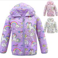 детское радужное пальто оптовых-INS Baby Unicorn Coat 4-12Y Дети Rainbow Unicorn Пиджаки Единорог куртки для детей Дизайнерская одежда Baby Girl Защита от солнца Одежда 20 P