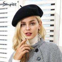 boina elegante al por mayor-lana elegante Simplee invierno boina Mujeres streetwear ocasional caliente sombrero de la boina casquillo otoño club del partido gorrita femenina 2018