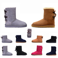 Wholesale pink wedged shoes resale online - 2020 Bow knot WGG Womens Australia Classic tall half Boots Bow Women girl boots Boot Snow Winter black blue ankle boots leather shoes