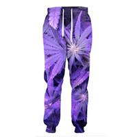 ingrosso piante di foglie viola-Pantaloni sportivi a foglia intera del futuro con pantaloni lunghi a forma di pianta 3d Pantaloni da uomo casual