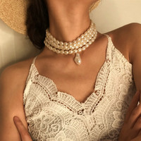 Wholesale pearl pendant neck resale online - Pearl Necklace for Women Fashion Pearl Bead Choker Necklace Korean Lady Collar Decoration on the Neck Female