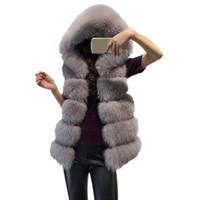 beyaz sahte kürk ceket toptan satış-Kadın Kürk Kapüşonlu Mont Ceket Kalın Kış Sıcak Sahte Kürk Tilki Yüksek Yaka İmitasyon Beyaz Ceket Giyim