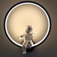 innenkunst großhandel-Heiße verkaufende Wand-Lampen schwärzen weiße Wandinnenbeleuchtung unbedeutender Kunst Leuchter-Innenraum mit Engel Inneneinrichtungswand
