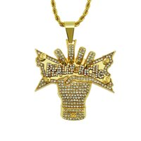 Wholesale gold fist for sale - Group buy Hot sale D fist Gold Plated Hip Hop Pendant Necklaces Cuban Rope Chain Necklace Fashion Jewelry